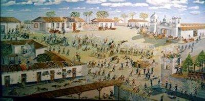 Batalla de Rivas del 11 de abril de 1856. Óleo sobre tela, de Óscar Vargas, 1982